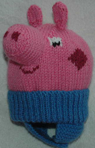 knitted toddler peppa pig hat