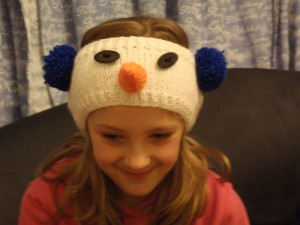 Chunky Snowman Headband being modelled