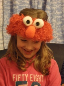 Funky Elmo Headband being modelled
