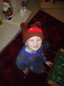 Chunky Rudolf the Reindeer Hat being modelled
