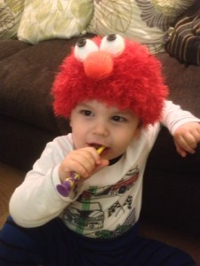 Funky Elmo Hat being modelled