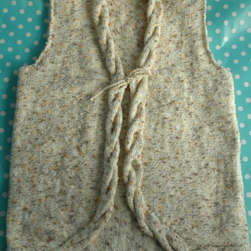Knitting Pattern Waistcoat : DK   Knitting pattern   Girls Cable Waistcoat KnitsRUs