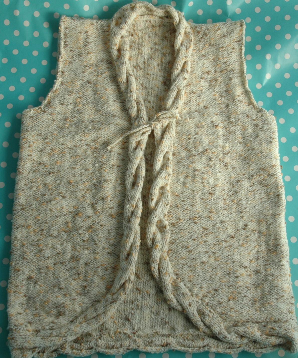 DK   Knitting pattern   Girls Cable Waistcoat KnitsRUs