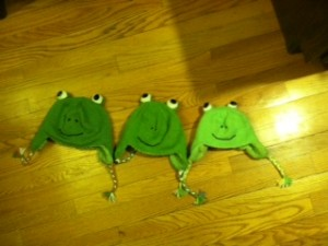 The 3 finished frog hats