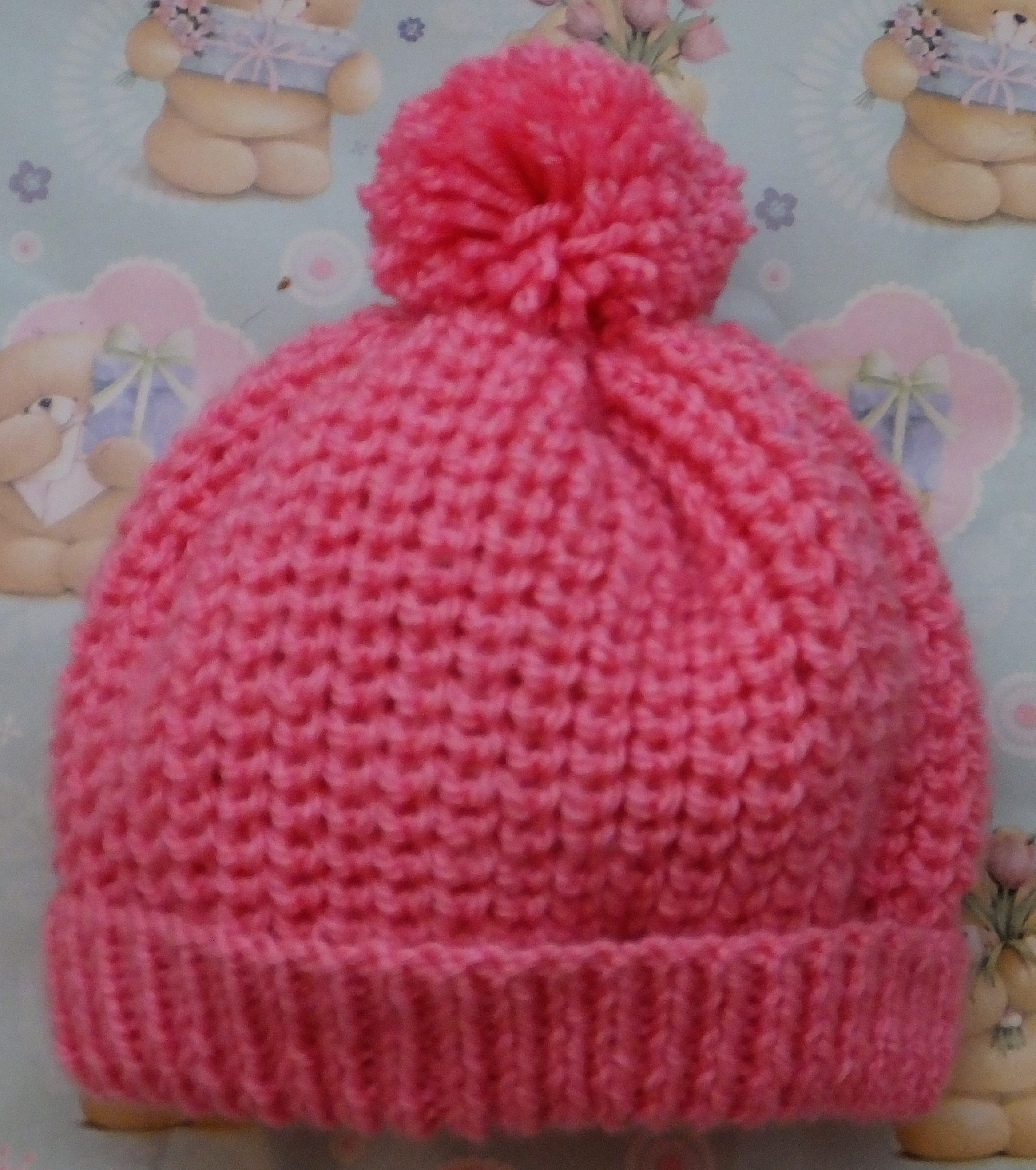 Knitting Pattern Ribbed Bobble Hat : Aran   Knitting pattern   Babies Bobble Hats, Heart ...