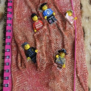 Lego man pink covered book