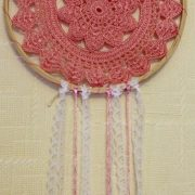 Pair pink doily dreamcatchers