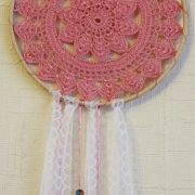 Pair pink doily dreamcatcher
