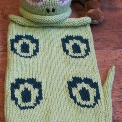 A baby's snuggle sack - just like a dinosaur.