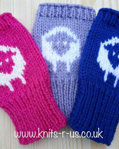 sheep logo fingerless gloves knitting pattern