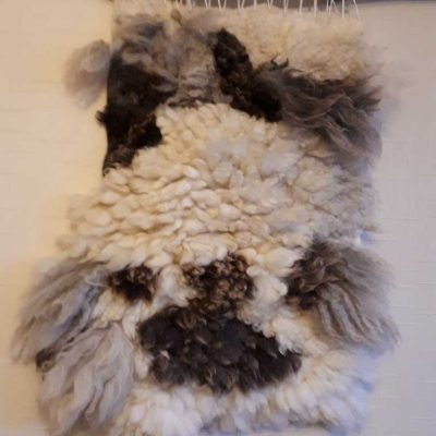 Mixed sheep fleece wallart
