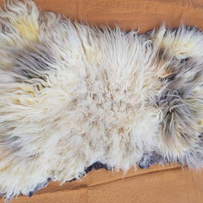 Cream and fawn jacob sheep fleece rug