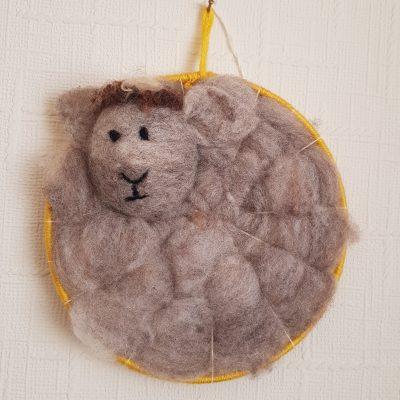 Ryeland sheep fleece dreamcatcher
