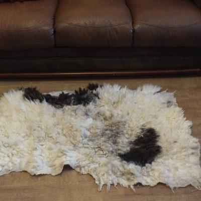 cream & brown Jacob sheep fleece rug throw